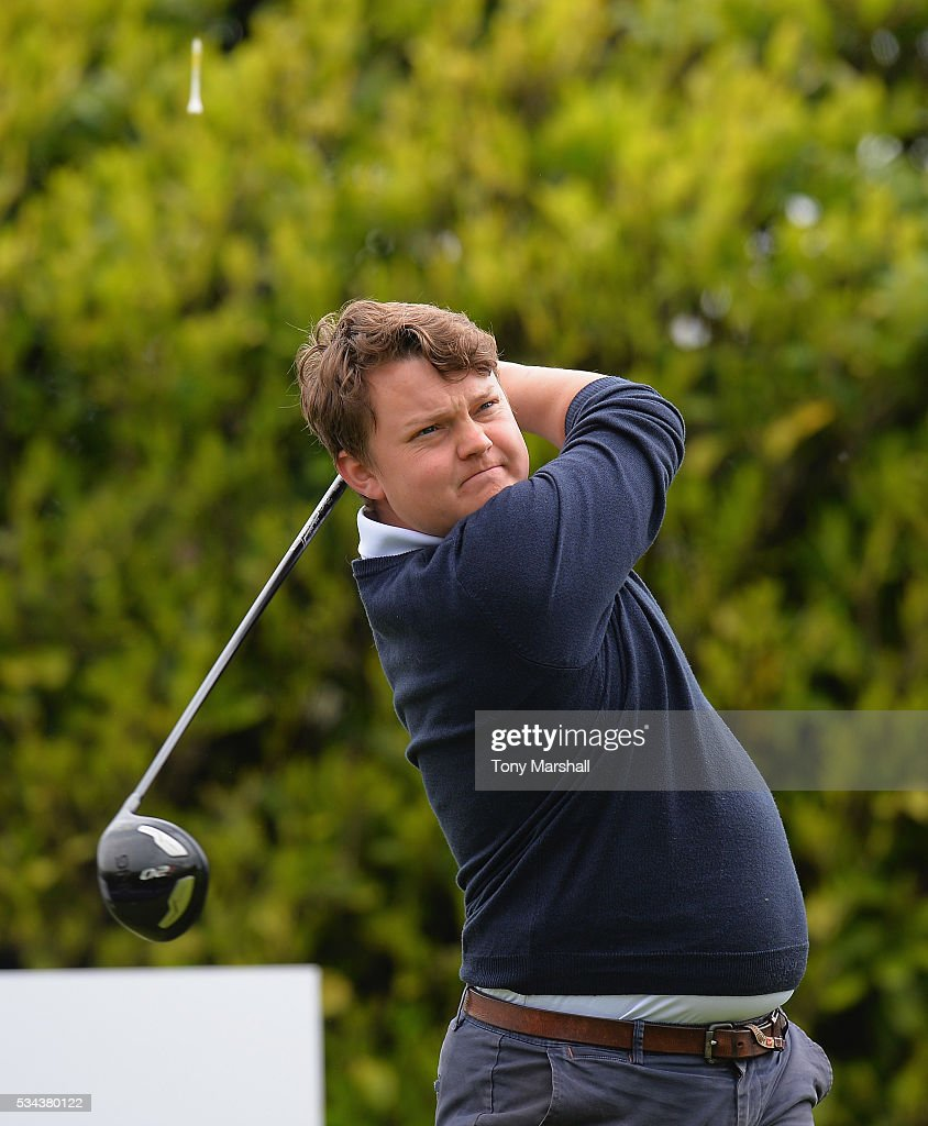 Robert Clayton of Collingtree Park Golf Club plays his first shot on the 1st tee during the PGA Assistants Championships - Midlands Qualifier at the Coventry Golf Club on May 26, 2016 in Coventry, England.