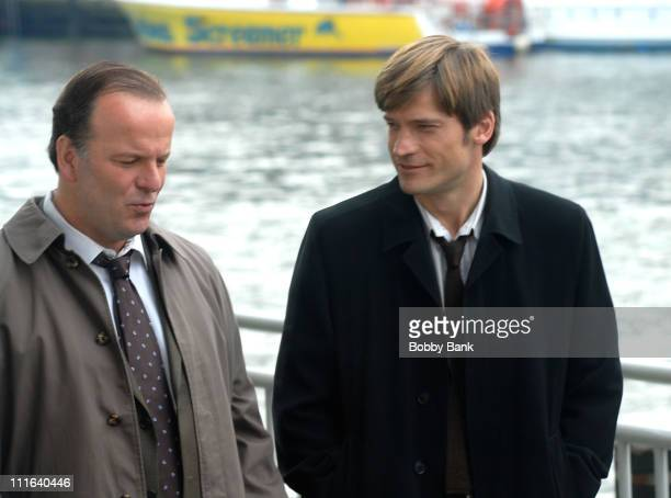 Robert Clohessy and Nikolaj CosterWaldau on Location for 'New Amsterdam' at Chelsea Piers New York October 17 2007