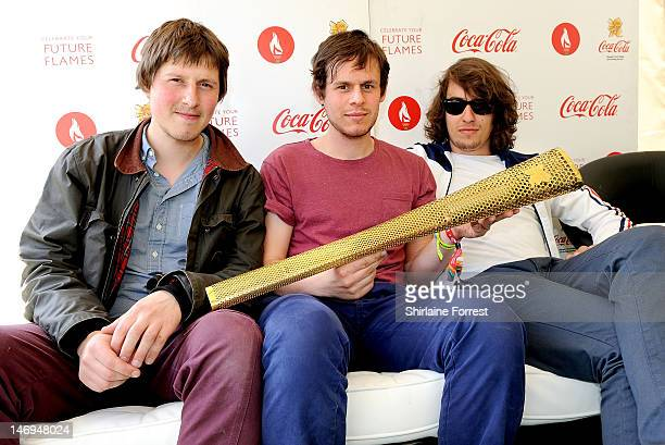 Robert Coles Michael Coles and Matthew Hall of Indie trio Little Comets pose backstage at the London 2012 Olympic Torch Relay Special City...
