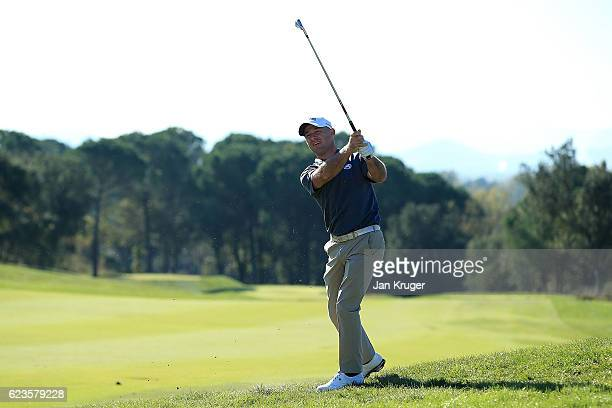 Robert Coles of England in action during the fifth round of the European Tour qualifying school final stage at PGA Catalunya Resort on November 16...