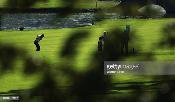 Robert Coles of England plays his second shot into the 18th green during the second round of the Czech Open 2010 at Prosper Golf Resort on August 20...