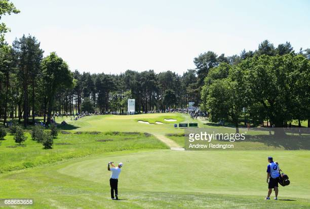 Robert Coles of England plays his second shot on the 7th hole during day two of the BMW PGA Championship at Wentworth on May 26 2017 in Virginia...