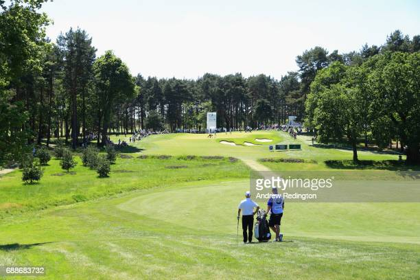 Robert Coles of England prepares to play his second shot on the 7th hole during day two of the BMW PGA Championship at Wentworth on May 26 2017 in...