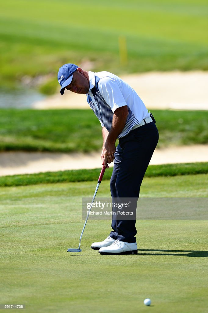 Robert Coles of England putts on the 9th hole during day one of the DD REAL Czech Masters at Albatross Golf Resort on August 18 2016 in Prague Czech...
