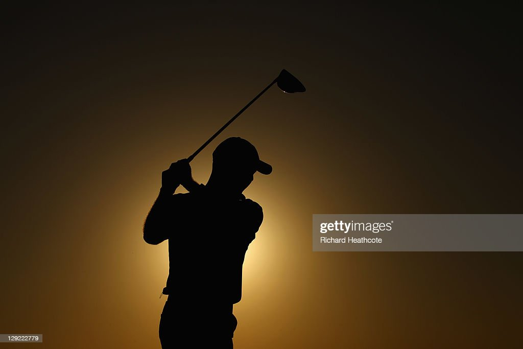 Robert Coles of England tee's off at the 18th during the second round the Portugal Masters at Oceanico Victoria Golf Course on October 14 2011 in...