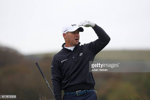 Robert Coles of Maylands Golf and Country Club plays his first shot on the 1st tee during day one of The 2016 PGA PlayOffs at Saunton Golf Club on...