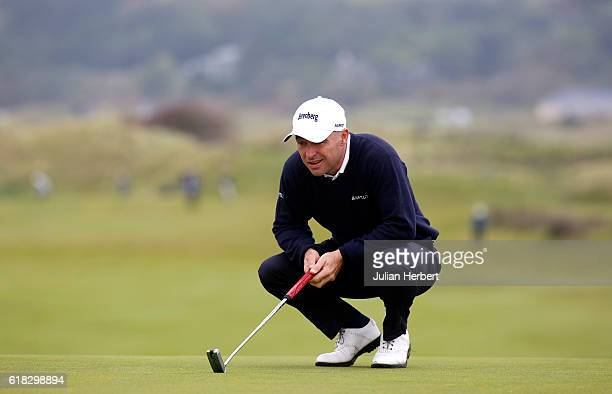 Robert Coles of Maylands Golf Country Club lines up a putt during day three of The 2016 PGA PlayOffs on October 26 2016 in Braunton England
