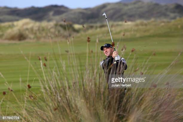 Robert Coles of Maylands Golf Country Club plays a shot during day two of The 2016 PGA PlayOffs on October 25 2016 in Braunton England