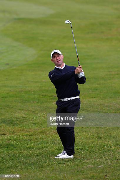 Robert Coles of Maylands Golf Country Club plays a shot during day three of The 2016 PGA PlayOffs on October 26 2016 in Braunton England