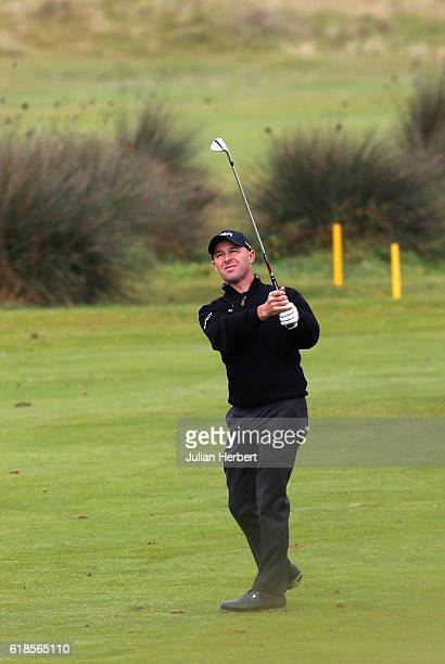 Robert Coles of Maylands Golf Country Club plays a shot during day four of The 2016 PGA PlayOffs on October 27 2016 in Braunton England