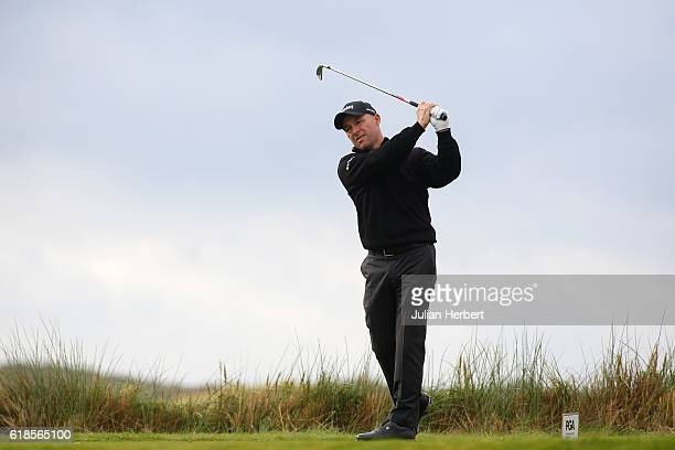 Robert Coles of Maylands Golf Country Club plays a tee shot during day four of The 2016 PGA PlayOffs on October 27 2016 in Braunton England