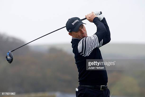 Robert Coles of Maylands Golf Country Club plays his first shot on the 1st tee during day two of The 2016 PGA PlayOffs on October 25 2016 in Braunton...