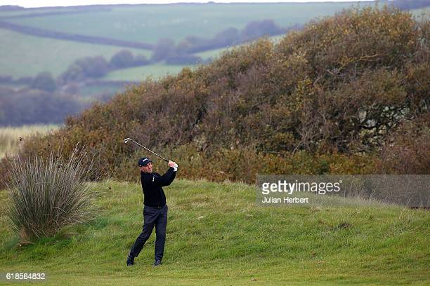 Robert Coles of Maylands Golf Country Club plays watches a shot during day four of The 2016 PGA PlayOffs on October 27 2016 in Braunton England