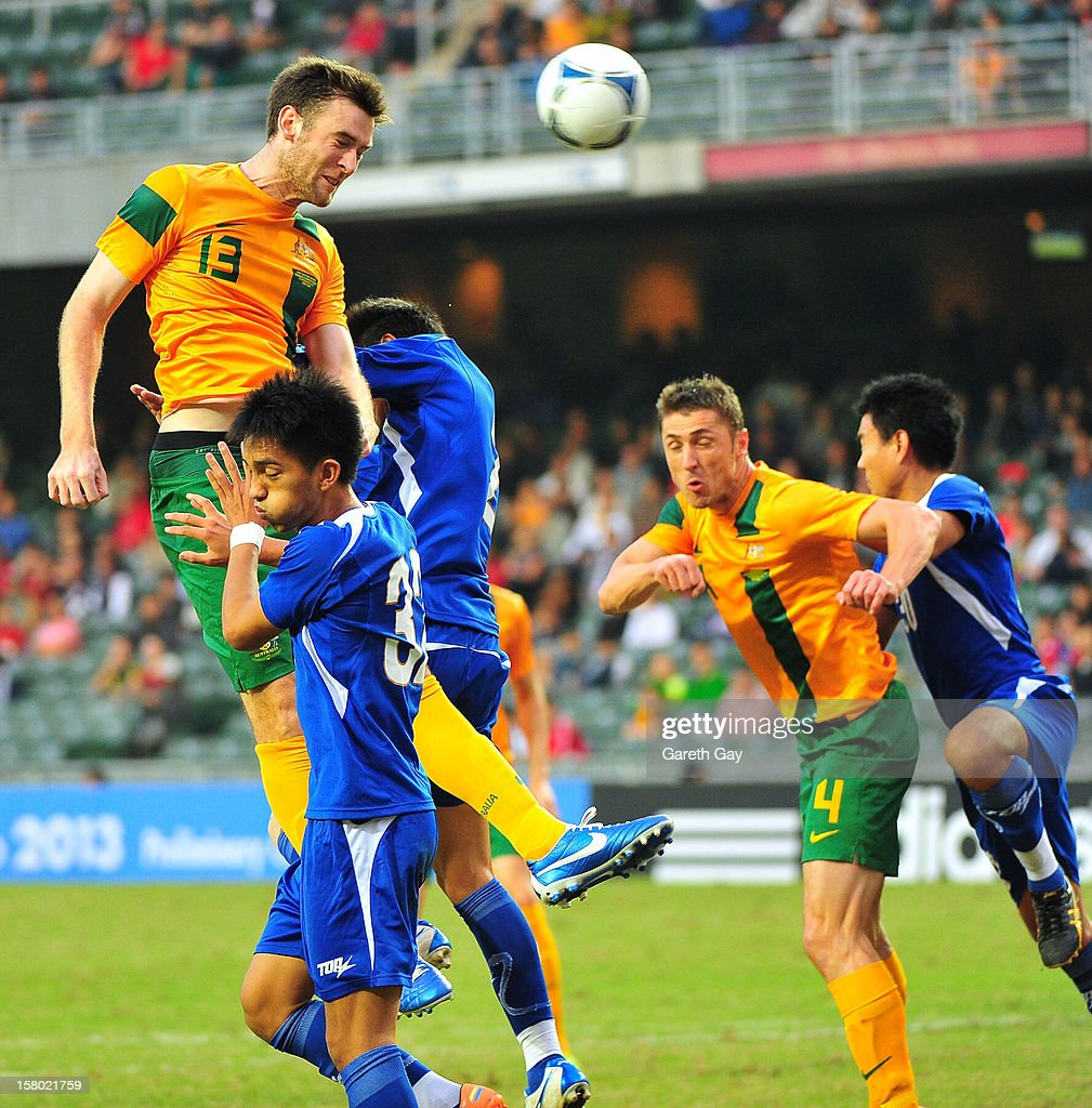 Robert Cornthwaite of Australia wins the ball in the air during the EAFF East Asian Cup 2013 Qualifying match between Chinese Tapei and the Australian Socceroos at Hong Kong Stadium on December 9, 2012 in So Kon Po, Hong Kong.