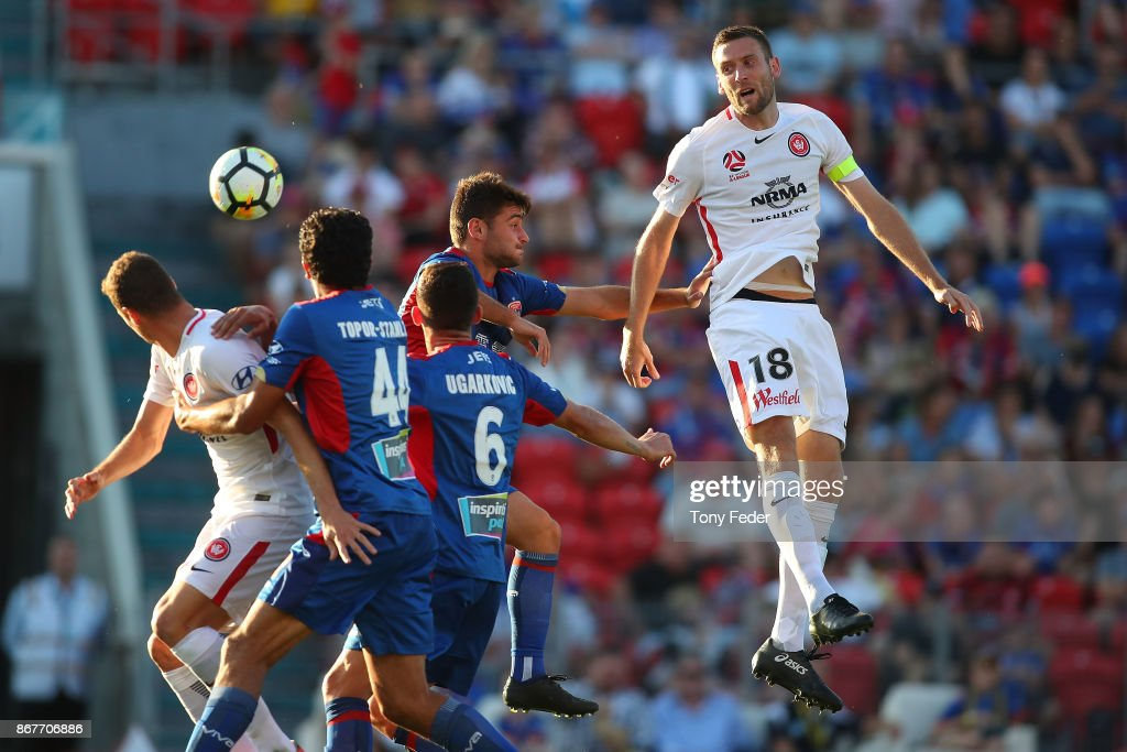 Robert Cornthwaite of the Wanderers contests a header during the round four A-League match between the Newcastle Jets and the Western Sydney Wanderers at McDonald Jones Stadium on October 29, 2017 in Newcastle, Australia.