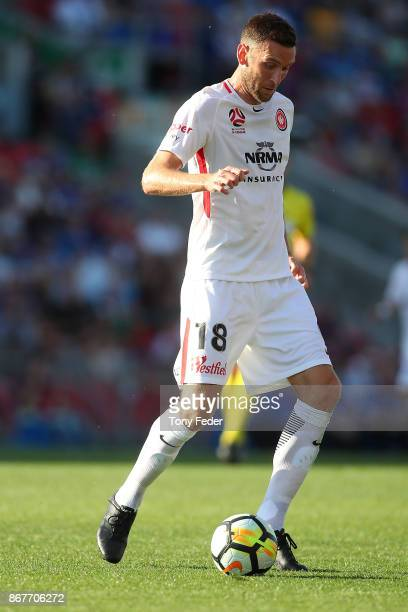 Robert Cornthwaite of the Wanderers in action during the round four ALeague match between the Newcastle Jets and the Western Sydney Wanderers at...