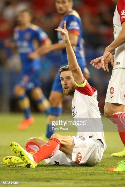 Robert Cornthwaite of the Wanderers protests to the referee during the round 25 ALeague match between the Newcastle Jets and the Western Sydney...