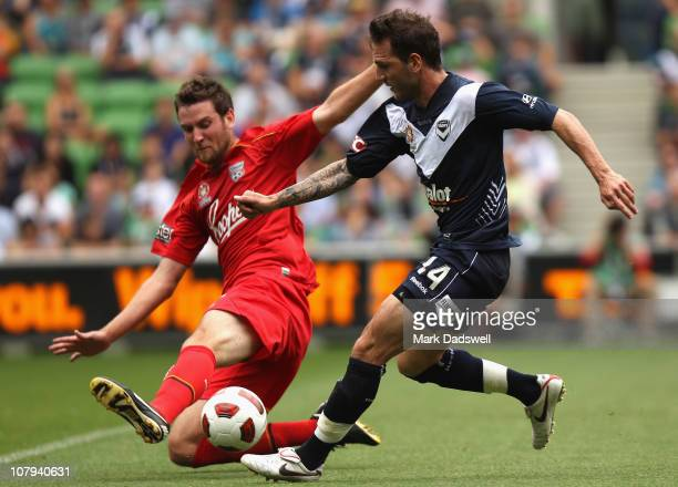 Robert Cornthwaite of United blocks the shot from Billy Celeski of the Victory during the round 22 ALeague match between the Melbourne Victory and...