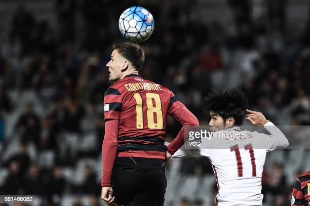 Robert Cornthwaite of Western Sydney Wanderers heads the ball during 2017 AFC Asian Champions League group match F between the Western Sydney...