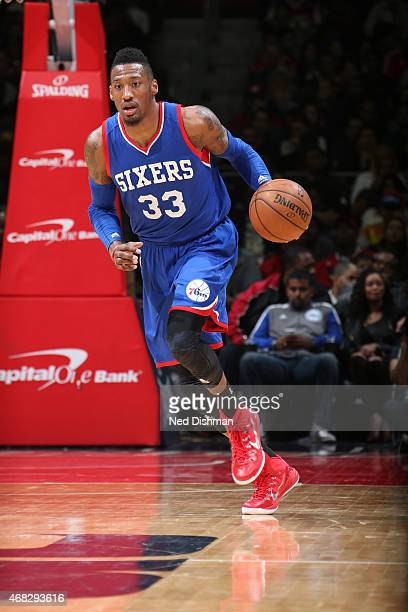 Robert Covington of the Philadelphia 76ers brings the ball up court against the Washington Wizards n April 1 2015 at the Verizon Center in Washington...