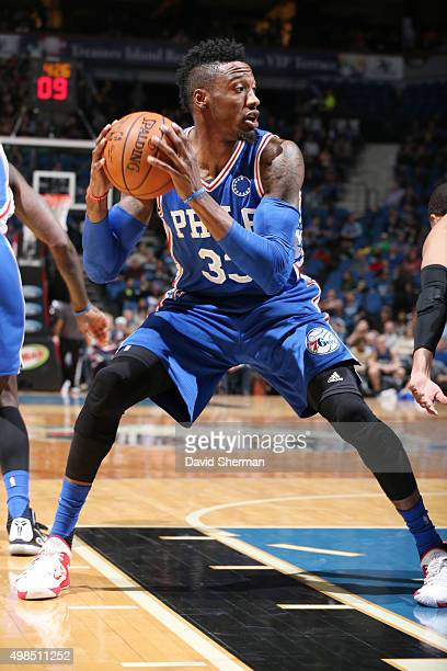 Robert Covington of the Philadelphia 76ers defends the ball against the Minnesota Timberwolves during the game on November 23 2015 at Target Center...