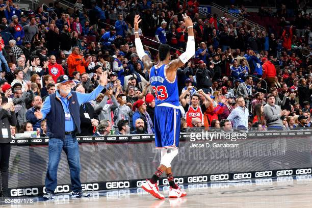 Robert Covington of the Philadelphia 76ers gets the fans amped up during the game against the Miami Heat on February 11 2017 at Wells Fargo Center in...