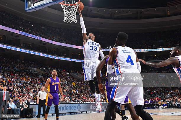 Robert Covington of the Philadelphia 76ers goes up for the layup against the Los Angeles Lakers at Wells Fargo Center on December 1 2015 in...