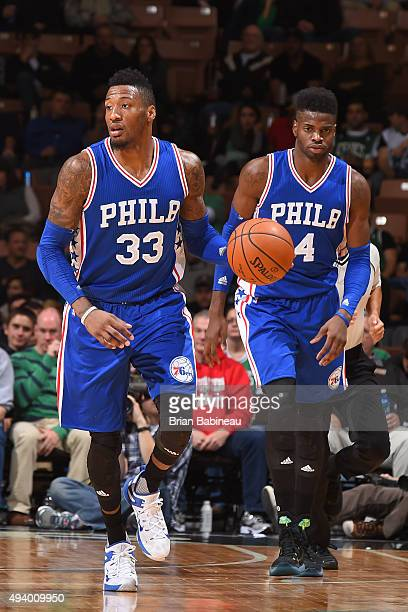 Robert Covington of the Philadelphia 76ers handles the ball against the Boston Celtics on October 23 2015 at the Verizon Wireless Arena in Manchester...
