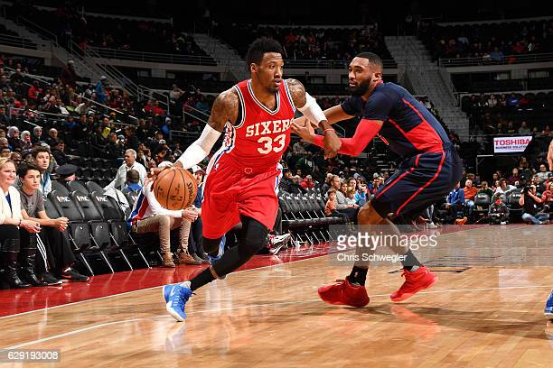 Robert Covington of the Philadelphia 76ers handles the ball during the game against the Detroit Pistons on December 11 2016 at The Palace of Auburn...
