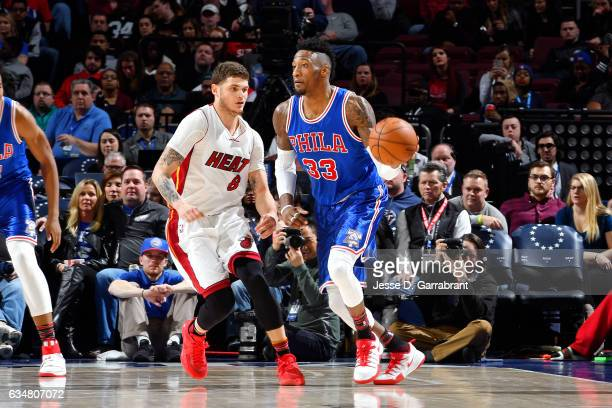 Robert Covington of the Philadelphia 76ers handles the ball during the game against the Miami Heat on February 11 2017 at Wells Fargo Center in...