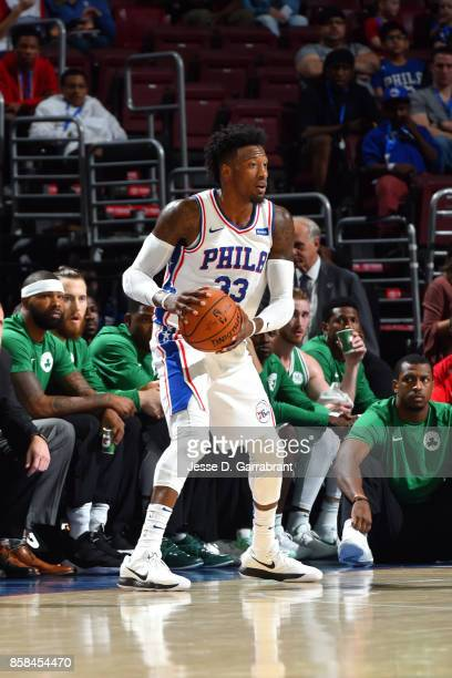 Robert Covington of the Philadelphia 76ers handles the ball during the game against the Boston Celtics during a preseason on October 6 2017 at Wells...