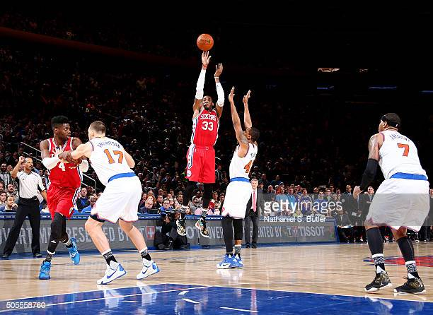 Robert Covington of the Philadelphia 76ers hits a shot to tie the game against the New York Knicks on January 18 2016 at Madison Square Garden in New...