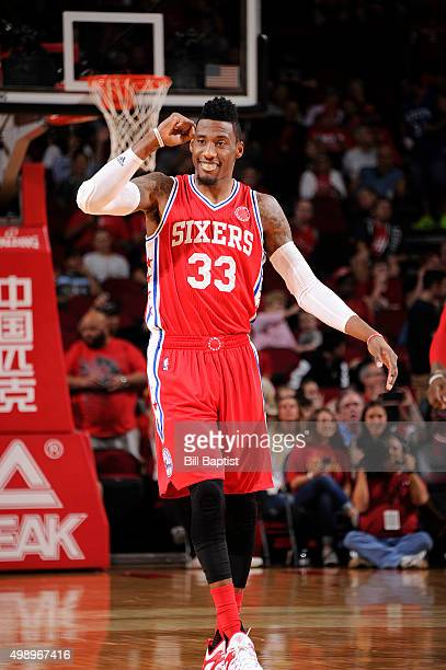 Robert Covington of the Philadelphia 76ers looks on during the game against the Houston Rockets on November 27 2015 at the Toyota Center in Houston...
