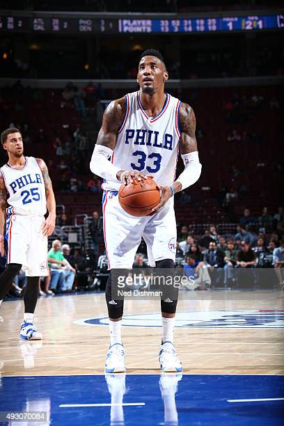 Robert Covington of the Philadelphia 76ers prepares to shoot against the Washington Wizards during the preseason game on October 16 2015 at Wells...