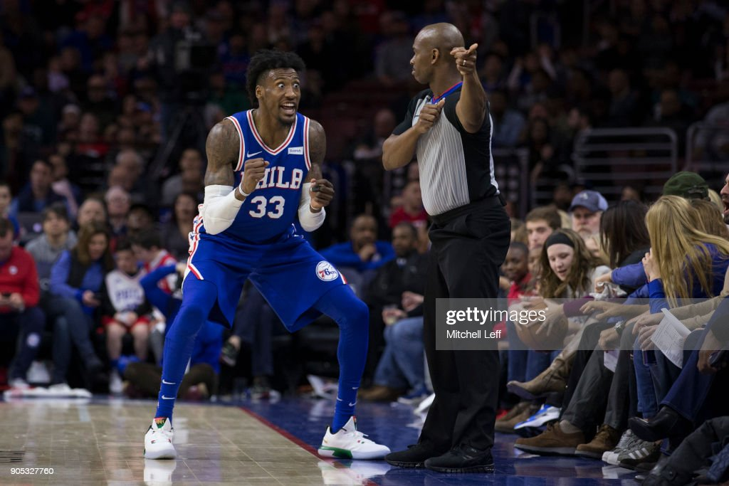 Robert Covington #33 of the Philadelphia 76ers reacts after referee Dedric Taylor #21 awarded the Toronto Raptors possession of the ball in the third quarter at the Wells Fargo Center on January 15, 2018 in Philadelphia, Pennsylvania. The 76ers defeated the Raptors 117-111.