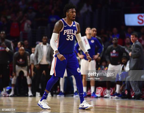 Robert Covington of the Philadelphia 76ers reacts to his three pointer to take the lead during a 109105 win over the LA Clippers at Staples Center on...
