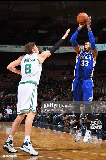 Robert Covington of the Philadelphia 76ers shoots the ball against the Boston Celtics on October 23 2015 at the Verizon Wireless Arena in Manchester...