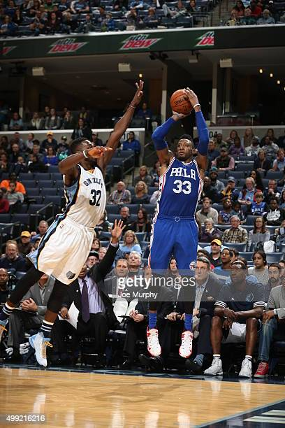 Robert Covington of the Philadelphia 76ers shoots the ball against the Memphis Grizzlies on November 29 2015 at FedExForum in Memphis Tennessee NOTE...