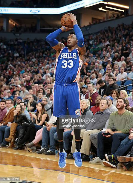 Robert Covington of the Philadelphia 76ers shoots the ball against the Minnesota Timberwolves on November 17 2016 at Target Center in Minneapolis...
