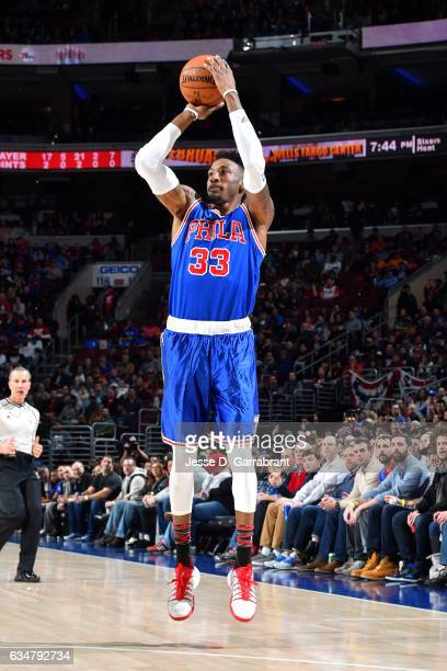 Robert Covington of the Philadelphia 76ers shoots the ball during the game against the Miami Heat on February 11 2017 at Wells Fargo Center in...