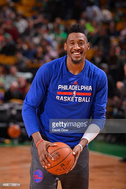 Robert Covington of the Philadelphia 76ers warms up before the game against the Boston Celtics on November 25 2015 at the TD Garden in Boston...