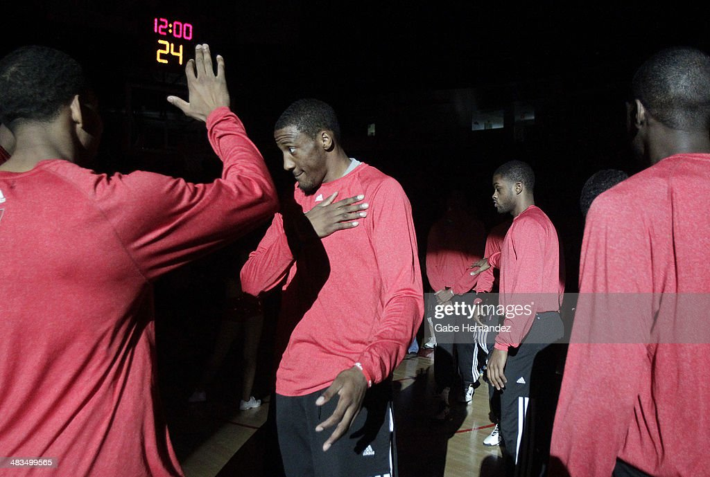 Robert Covington #33 of the Rio Grande Valley Vipers celebrates as he is introduced before playing against the Iowa Energy on April 8, 2014 during game one first round of the 2014 NBA-Development League playoffs at the State Farm Arena in Hidalgo, Texas.
