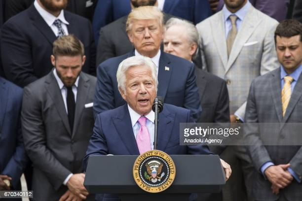 Robert Craft owner of the 2017 Super Bowl Champions the New England Patriots speaks during a ceremony with President Donald Trump at the White House...