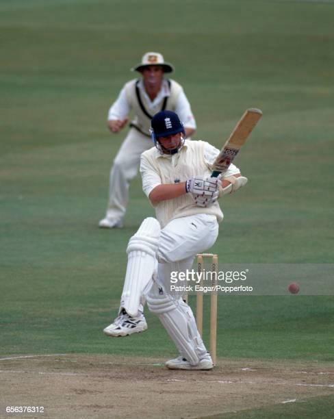 Robert Croft batting for England during the 1st Test match between England and Australia at Edgbaston Birmingham 6th June 1997 England won the match...
