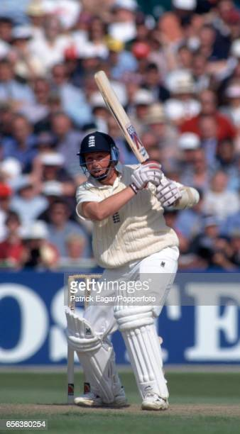Robert Croft batting for England during the 3rd Test match between England and Australia at Old Trafford Manchester 4th July 1997 Australia won the...