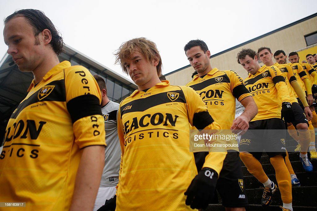 Robert Cullen (2nd from L) of Venlo walks towards the pitch prior to the Eredivisie match between VVV Venlo and Vitesse Arnhem at the Seacon Stadion De Koel on December 9, 2012 in Venlo, Netherlands.