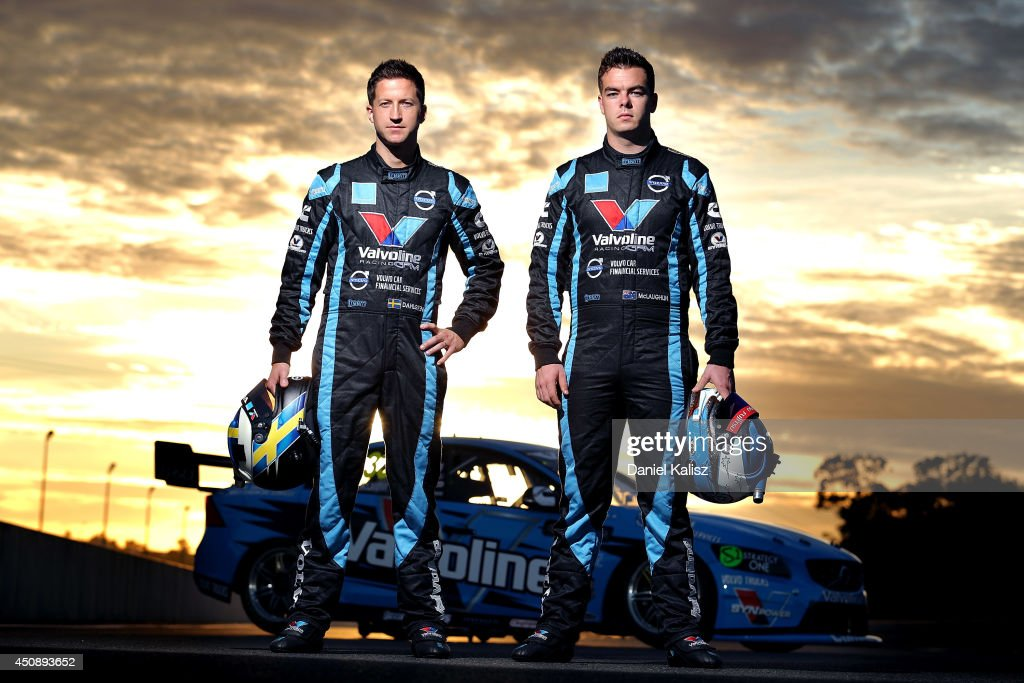 Robert Dahlgren (L) driver of the #34 Valvoline Racing Volvo and Scott McLaughlin driver of the #33 Valvoline Racing GRM Volvo pose before practice for the Triple Crown Darwin, which is round six of the V8 Supercar Championship Series at Hidden Valley Raceway on June 20, 2014 in Darwin, Australia.