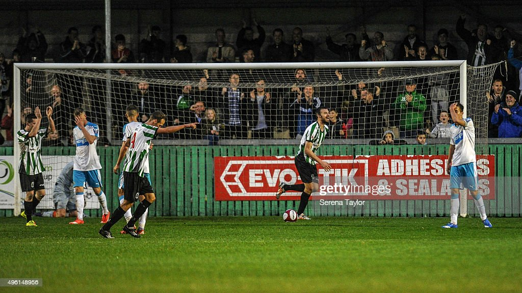 Robert Dale (C) of of Blyth Spartans celebrates after scoring their second goal during The Northumberland Senior Cup match between Blyth Spartans and Newcastle United at Croft Park on November 7, 2015, in Blyth, England.