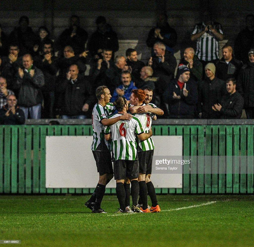 Robert Dale (R) of of Blyth Spartans celebrates with teammates after scoring their second goal during The Northumberland Senior Cup match between Blyth Spartans and Newcastle United at Croft Park on November 7, 2015, in Blyth, England.