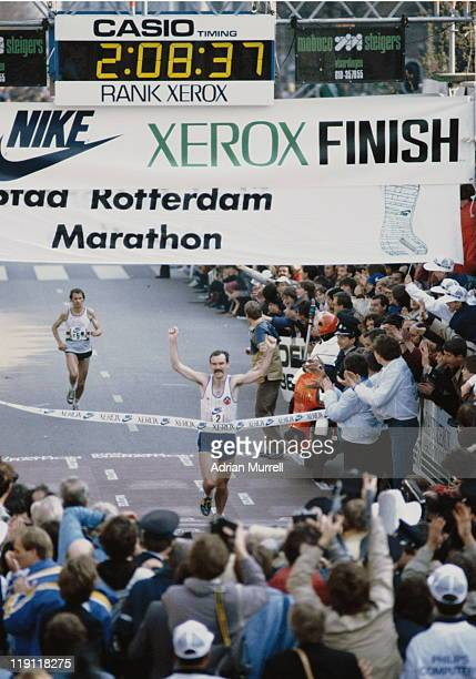 Robert de Castella of Australia crosses the line to win the Rotterdam Marathon in 2hrs0837 on 9th April 1983 in Rotterdam Netherlands